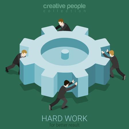 trabajando duro: La gente de negocios Micro girar el engranaje de cremallera grande. El trabajo duro equipo concepto plana 3d web isom�trica vector de concepto de infograf�a. Colecci�n de la gente creativa.