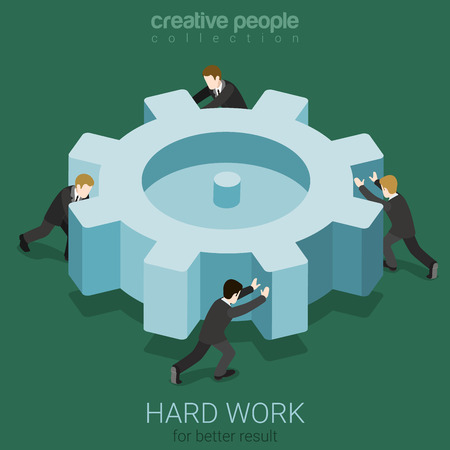 work team: Micro business people spinning big cogwheel gear. Hard work team concept flat 3d web isometric infographic concept vector. Creative people collection.