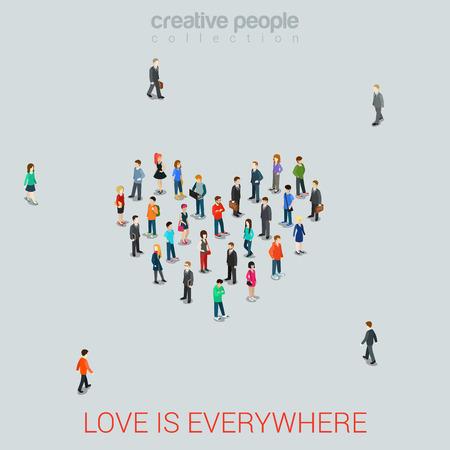 사람들: 심장 모양의 평면 아이소 메트릭 3D 스타일의 벡터 일러스트 레이 션으로 서있는 사람들. 개념의 아이디어를 사랑 해요. 창조적 인 사람들의 컬렉션입