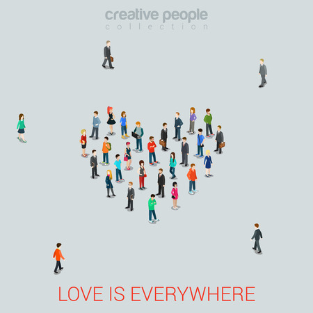 personas de pie: Gente que se coloca como la forma del corazón plano isométrico estilo de ilustración vectorial 3d. Concepto del amor idea. Colección de la gente creativa.