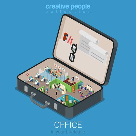 Micro mobiel kantoor in grote koffer concept van platte 3d web isometrische infographic begrip vector. Office muren interieur kamers in geopende bedrijf aktetas. Creatieve mensen collectie.