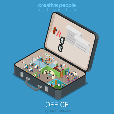 creative: Micro mobile office in big briefcase concept flat 3d web isometric infographic concept vector. Office walls interior rooms in opened business brief case. Creative people collection.