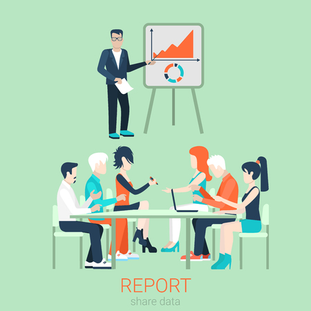 session: Flat business report, meeting, skull session, council, presentation, get-together, palaver web infographic concept vector. Group of character people table, boss in center by blackboard. Illustration