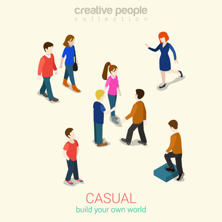 Casual people flat 3d web isometric infographic concept vector. Set of men, women and couples. Build your own world creative people collection.