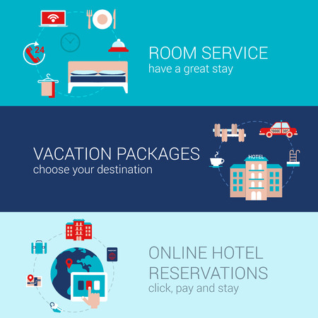 reservation: Hotel booking travel business concept flat icons banners template set room service vacation tourism packages online hotel reservation vector web illustration website click infographics elements.