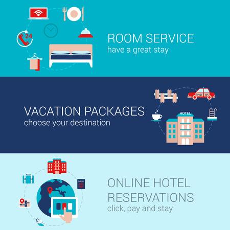 Hotelbuchung Reise Business-Konzept flache Ikonen Banner-Vorlage eingestellt Zimmerservice Städteurlaub Pakete Hotel-Reservierungs vektor web illustration Website klicken Sie Infografiken Elemente.