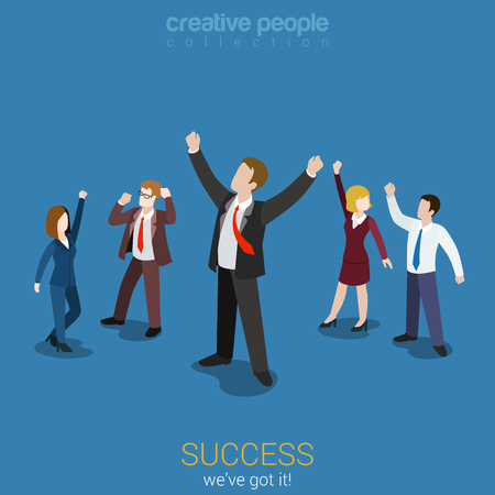 unrecognizable person: Success in business flat 3d web isometric infographic vector. Happy successful businesspeople group. Creative people collection.