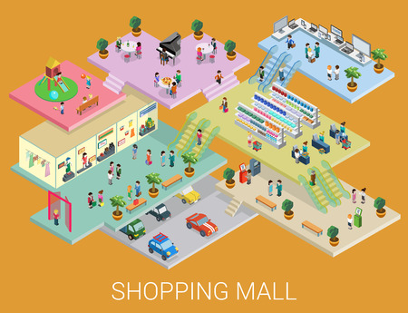 grocery shelves: Flat 3d isometric shopping mall concept vector. City shopping center, boutique gallery indoor interior floors with walking shoppers. Sale, entertainment, multi-use, retail store business concept.