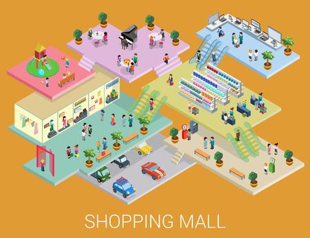 Plat 3d isométrique achats concept de centre commercial vecteur. Centre commercial de la ville, la galerie-boutique planchers intérieurs à l'intérieur avec les acheteurs de marche. Vente, de divertissement, multi-usage, concept d'entreprise de magasin de détail.