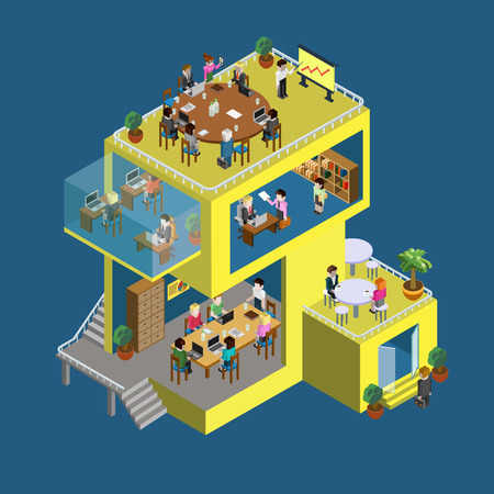 company building: Business center building with people flat 3d web isometric infographic concept vector. Exterior and interior isometry rooms with people staff workers. Creative people collection. Illustration