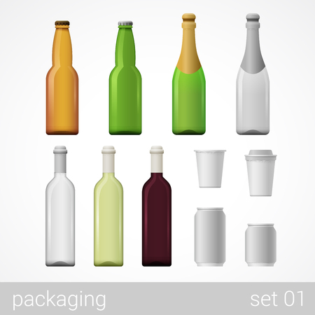 alcohol cardboard: Alcohol wine champagne beer coffee drink glass bottles metal can paper cardboard package set. Blank white packaging objects isolated on white vector illustration.