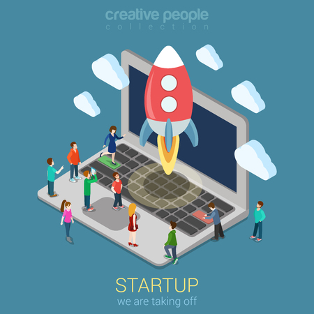 Startup launching process flat 3d web isometric infographic technology online service application internet business concept vector. Rocket space ship taking off laptop keyboard micro creative people.