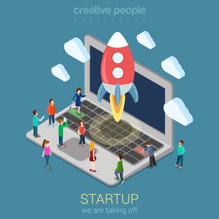 Startup lancering proces flat 3d web isometrische infographic technologie online service applicatie internet business concept vector. Raket ruimteschip opstijgen laptop toetsenbord micro creatieve mensen. Stock Illustratie