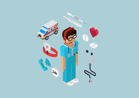 Medical emergency ambulance car all-day first aid service professional doctor nurse. Flat 3d isometric pixel art modern concept vector web illustration materials website infographics pixelart pills.