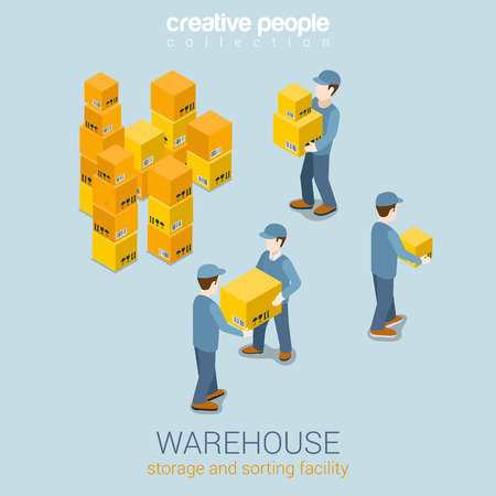storage facility: Warehouse storage delivery service flat 3d web isometric infographic concept vector. Courier loader mover working with goods boxes. Process prepare for delivery. Creative people collection.