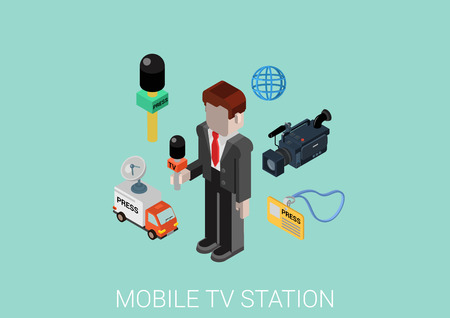 tv station: Press and television mobile TV station correspondent. Flat 3d isometric modern design concept. Journalist, microphone, interview, camcorder, badge, satellite transfer van vector web illustration.