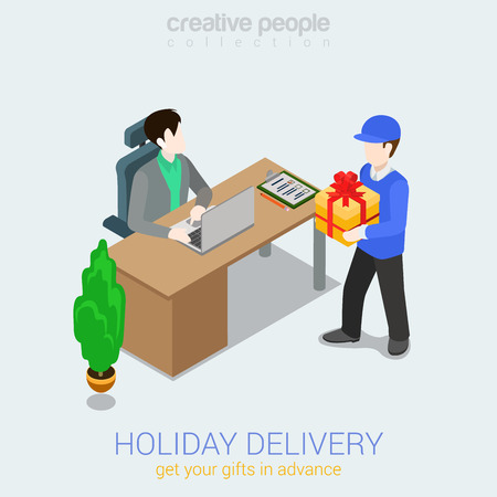 gift boxes: Flat 3d web isometric courier holiday gift delivery infographic concept vector. Man giving present box to woman. Creative people collection.