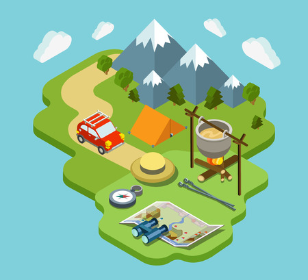 vacation map: Camping travel outdoor active vacation flat 3d isometric pixel art modern design concept vector. Mountain forest meadow bowler tent fire chowder skewer. Web banners website infographics illustration. Illustration