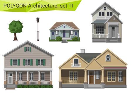 Fachada: Casas de estilo poligonal y edificios fijados. Campo y suburbio elementos de diseño. Polígono colección arquitectura.