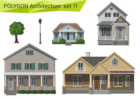 house facades: Polygonal style houses and buildings set. Countryside and suburb design elements. Polygon architecture collection.