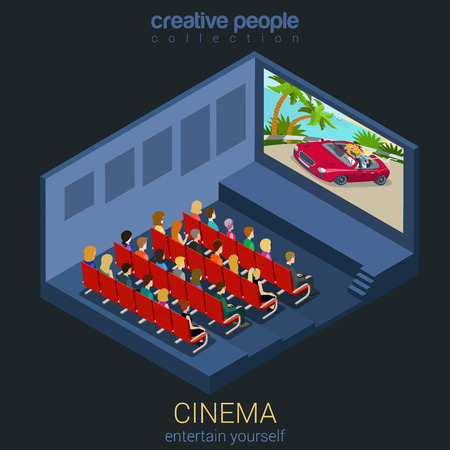 movie theater: Cinema watch movie in theater template mockup concept flat 3d isometric web infographic vector. Creative people entertainment collection. Build your own world.