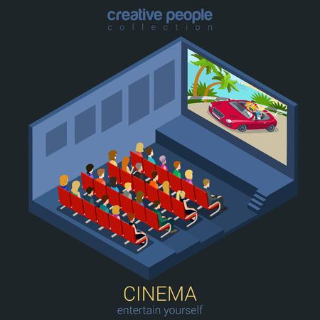 teatro: Película reloj Cine en la plantilla del teatro concepto maqueta plana 3d web isométrica vectorial infografía. Las personas creativas de recogida de entretenimiento. Construye tu propio mundo.