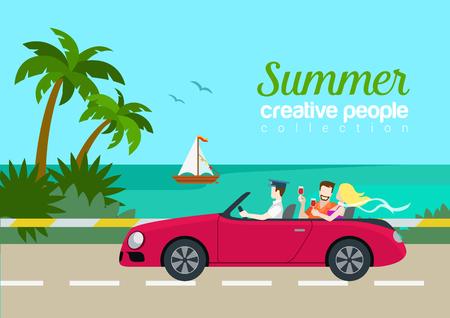 carro caricatura: par de viajes de verano el coche del cabrio banda plana concepto de infografía Vectores