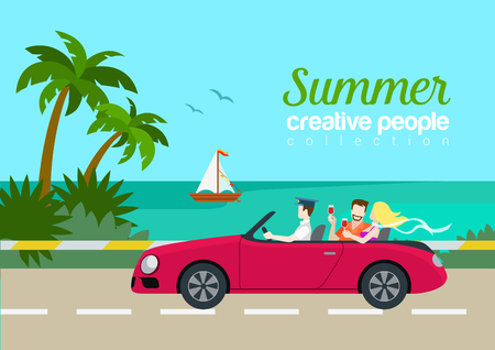 Summer travel couple cabrio car flat web infographic concept Çizim