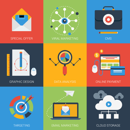 Flat icons set email viral marketing targeting data analysis digital advertising campaign online payment. Web click infographics style vector illustration concept collection. Illustration