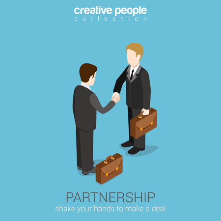 Flat 3d web isometric partnership deal handshake to succeed infographic concept vector. Two businessmen shaking hands. Creative people collection.