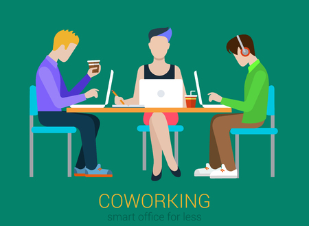 Coworking flat web infographic concept vector. Co-working three people at the table with laptops. Office agency work process. Creative people collection.