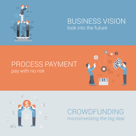 funding: Flat business vision, payment, crowd funding concept. Vector icon banners template set. Business people looking into the future, processing payment, funding. Web illustration. Website infographics.