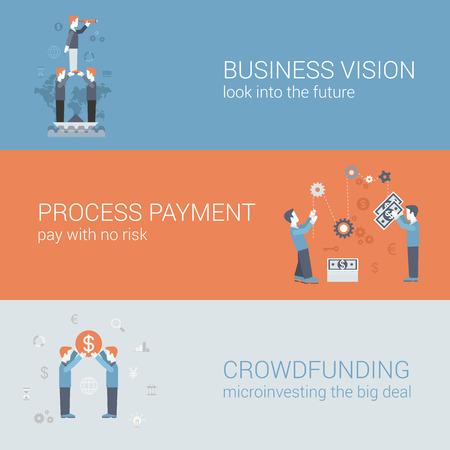 multitud gente: Visión plana de negocios, el pago, el concepto de financiación multitud. Vector icono banners plantilla de conjunto. La gente de negocios que mira hacia el futuro, el procesamiento de pagos, la financiación. Ilustración Web. Infografía Website.