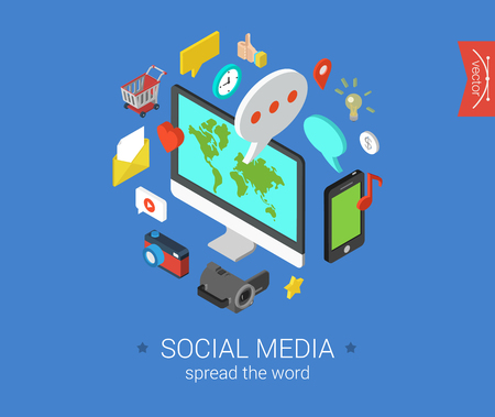 Social media flat 3d isometric pixel art modern design concept vector icons composition set. Desktop, chat, video, photo, music, phone, tablet. Flat web illustration infographics collection.
