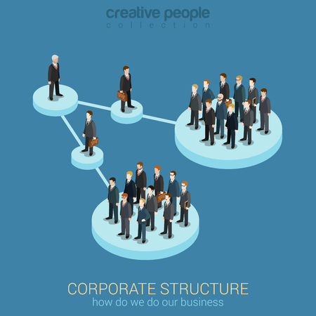 company: Flat 3d isometric infographic concept of company corporate department team diagram structure web concept vector template. Connected platform pedestals groups of business people. Organization chart.