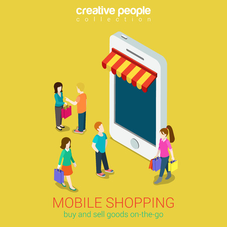 e shopping: Mobile shopping e-commerce online store flat 3d web isometric infographic concept vector and electronic business, sales, black friday. People walk on the street between stores boutiques like phones tablets. Illustration