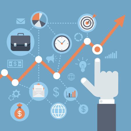 rising an arm: Flat style modern web infographics data analysis, statistics presentation, annual report, finance growth, income rising concept. Hand points graphic representation indicators icons.