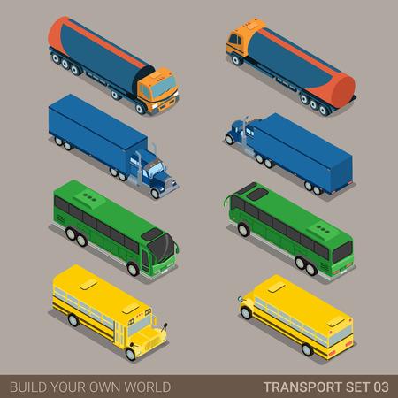 Vlakke 3d isometrische hoogwaardige stad lange voertuig vervoer icon set. Tank olie stortbak truck intercity toeristische schoolbus. Bouw je eigen wereld web infographic collectie.