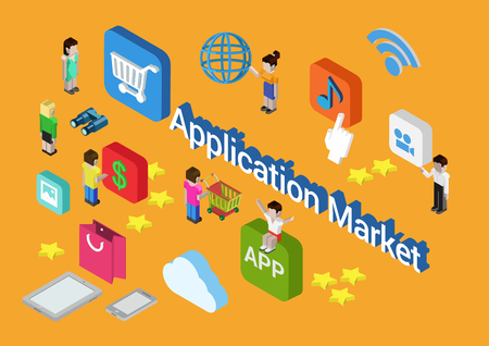 online purchase: Flat style 3d isometric vector illustration concept of online mobile application market app store. People sitting, purchase, buy app icons, star rate rating around. Illustration