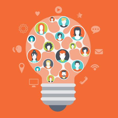 relaciones humanas: Estilo web plana infografía modernas gente de los medios sociales conexiones de red concepto. La forma de la bombilla idea símbolo formado por todas las mentes miembro del equipo creativo. Iconos del Web site alrededor perfiles conectados.