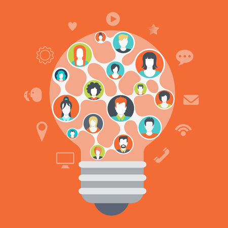 sharing information: Flat web style modern infographics social media people network connections concept. Light bulb shape idea symbol consists of every creative team member mind. Website icons around connected profiles. Illustration