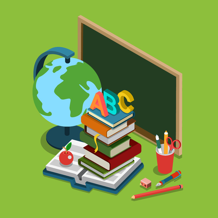 cartoon school: School college university education flat 3d web isometric infographic concept vector. Chalkboard globe heap books ABC apple set of objects. Illustration
