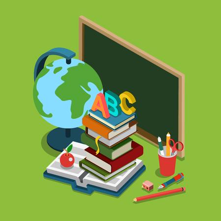 escuela caricatura: Universidad escuela universitaria plana 3d web isométrica vector de concepto de infografía. Pizarra libros globo montón ABC manzana conjunto de objetos.