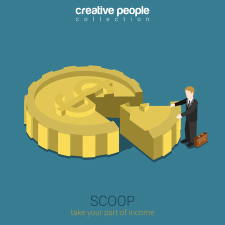 shareholder: Shareholder scoop business concept flat 3d web isometric infographic vector. Businessman takes away part of coin shaped pie. Part of income, share in company. Creative people collection. Illustration