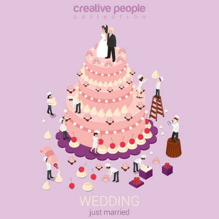 business event: Wedding cake cream tart micro just married couple groom bride bakers confectionery tools around. Creative flat 3d isometric postcard concept holiday event organization service confectioner business. Illustration