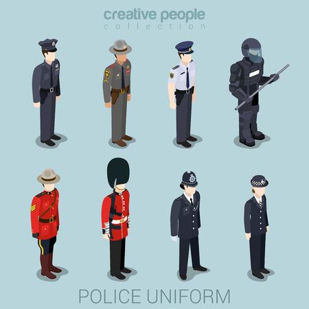 Agente de policía SWAT patrulla comandante en uniforme plana isométrica 3d juego de avatar perfil de usuario icono de ilustración vectorial conjunto. Colección de la gente creativa. Construye tu propio mundo. Vectores