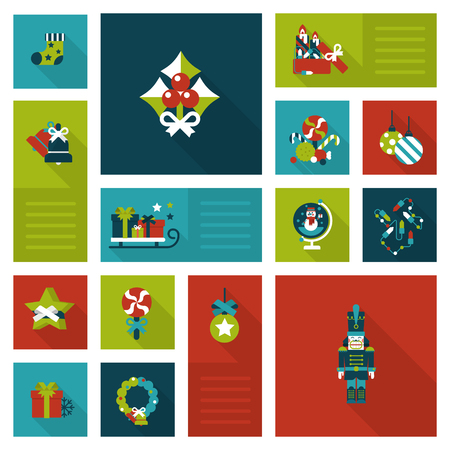 nutcracker: Flat style Xmas decorations: cranberries, garland, wreath, sock, sledge, present gift box, candy, nutcracker. Christmas and New Year labels icon set. Holiday web icon collection.