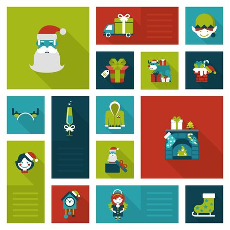 coo: Flat Christmas and New Year icons. Santa, elf, deer, angel, fireplace, chimney, masquerade, coo coo clock. Holiday web icon collection.