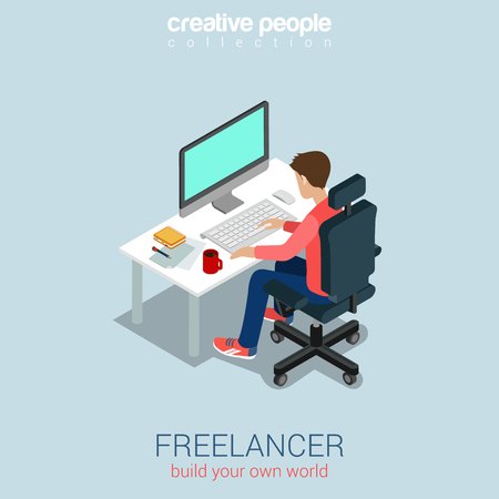 computer: Freelancer at work flat 3d web isometric infographic concept vector. Build your own world creative people collection.