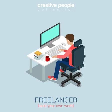 computadora caricatura: Freelancer en el trabajo plana 3d web isom�trica vector de concepto de infograf�a. Construye tu propia colecci�n de la gente creativa mundo. Vectores